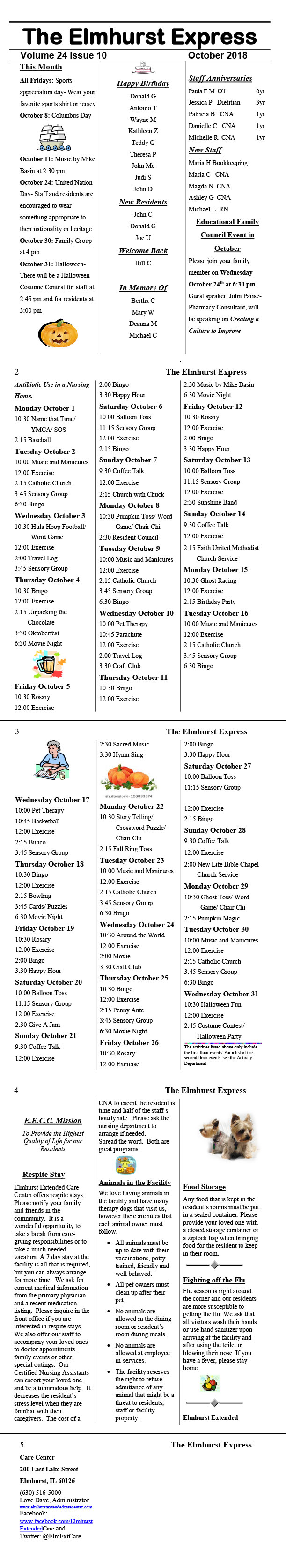 elmhurst extended care center october 2018 monthly newsletter