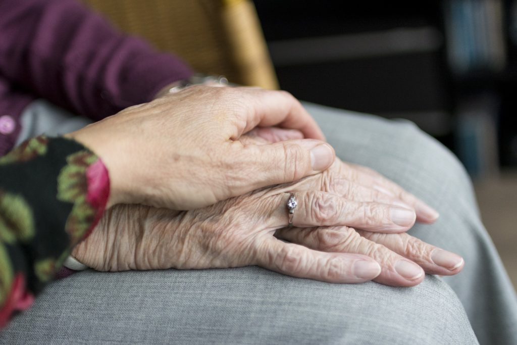 senior care, old age, senior hands